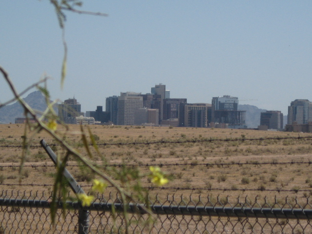 I got a good shot of the skyline of central Phoenix.  The city core is only about 2 to 3 miles away.
